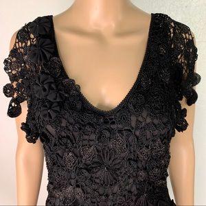 Cache black beaded crochet dress